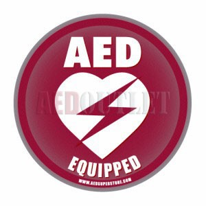 "AED Equipped Facility Window/Wall Decal - 4"" Diameter"
